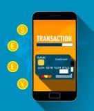 Απεικόνιση για τη συναλλαγή χρημάτων, τις κινητές τραπεζικές εργασίες και τις κινητές πληρωμές Επιχειρησιακή τεχνολογία επίσης co διανυσματική απεικόνιση
