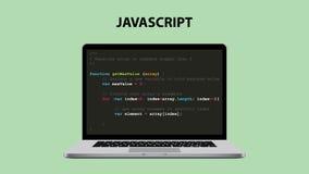 Απεικόνιση γλώσσας προγραμματισμού Javascript με το lap-top και τον κώδικα χειρογράφων της Ιάβας διανυσματική απεικόνιση