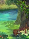 Απεικόνιση: Δασική, πράσινη χλόη άνοιξη, σκιά δέντρων, όμορφα λουλούδια στην όχθη ποταμού απεικόνιση αποθεμάτων