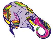 Εικονίδιο ελεφάντων Ινδικός ελέφαντας που διακοσμείται στο παραδοσιακό ύφος διανυσματική απεικόνιση