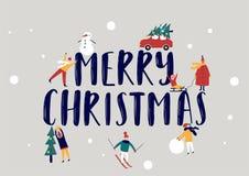Απεικόνιση διακοπών Χαρούμενα Χριστούγεννας με τους επίπεδους ανθρώπους ελεύθερη απεικόνιση δικαιώματος
