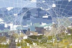 απεικόνιση δικτύου πόλε&omega Στοκ Εικόνες