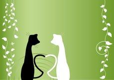 απεικόνιση δύο γατών Στοκ Εικόνες