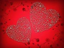 Απεικόνιση δύο καρδιών στο κόκκινο υπόβαθρο στοκ φωτογραφία
