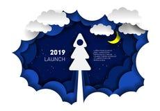 Απεικόνιση εγγράφου ενός πυραύλου υπό μορφή χριστουγεννιάτικου δέντρου Ύφος χαρτί-περικοπών νέο έτος Χριστουγέννων ελεύθερη απεικόνιση δικαιώματος