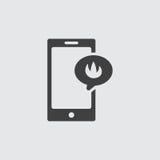 Απεικόνιση εικονιδίων φλογών Smartphone Στοκ εικόνα με δικαίωμα ελεύθερης χρήσης