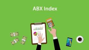 Απεικόνιση δεικτών Abx με το επιχειρησιακό άτομο που εργάζεται στο διάγραμμα και τα χρήματα γραφικών παραστάσεων γραφικής εργασία απεικόνιση αποθεμάτων