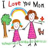 Απεικόνιση εικόνων σχεδίων αγάπης παιδιών mom
