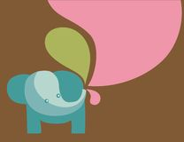 Απεικόνιση ελεφάντων με τα χρώματα κρητιδογραφιών Στοκ Εικόνες