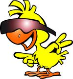 Απεικόνιση ενός έξυπνου κοτόπουλου με τα sunglass Στοκ εικόνα με δικαίωμα ελεύθερης χρήσης