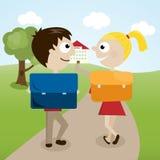 Απεικόνιση ενός αγοριού και ενός κοριτσιού στο δρόμο τους στο σχολείο Στοκ Εικόνα