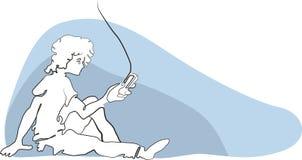 Απεικόνιση ενός αγοριού και ενός τηλεφώνου κυττάρων Στοκ Εικόνες