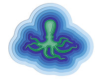 Απεικόνιση ενός βαλμένου σε στρώσεις χταποδιού στον ωκεανό Στοκ Εικόνες