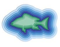 Απεικόνιση ενός βαλμένου σε στρώσεις ψαριού στη θάλασσα Στοκ Εικόνες