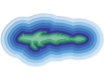 Απεικόνιση ενός βαλμένου σε στρώσεις ψαριού στον ωκεανό στοκ εικόνες