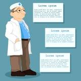 Απεικόνιση ενός γιατρού που στέκεται μπροστά από τους πίνακες πληροφοριών Πληροφορίες ασθενών διάνυσμα Στοκ Φωτογραφίες