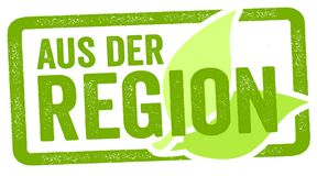 Απεικόνιση ενός γραμματοσήμου με τη γερμανική λέξη για τοπικά τα τρόφιμα - περιοχή Aus der απεικόνιση αποθεμάτων