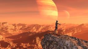 Απεικόνιση ενός εξωγήινου φορώντας μια φόρμα αστροναύτη που στέκεται σε ένα mountaintop που περιμένει έναν γύρο με τον αντίχειρα  διανυσματική απεικόνιση