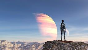 Απεικόνιση ενός εξωγήινου φορώντας μια φόρμα αστροναύτη που στέκεται σε ένα mountaintop που εξετάζει το μπλε ουρανό σε έναν αλλοδ ελεύθερη απεικόνιση δικαιώματος