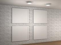 Απεικόνιση ενός κενού τοίχου μουσείων με 4 πλαίσια Στοκ Φωτογραφίες