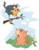 Απεικόνιση ενός κορακιού και μιας γάτας cartoon διανυσματική απεικόνιση