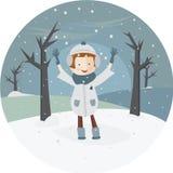 Απεικόνιση ενός κοριτσιού και το πρώτο χιόνι στον κύκλο Στοκ Εικόνες