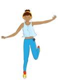 Απεικόνιση ενός κοριτσιού που πηδά στη λακκούβα που απομονώνεται απεικόνιση αποθεμάτων