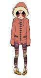 Απεικόνιση ενός κοριτσιού σε ένα παλτό και τις περικνημίδες Στοκ εικόνες με δικαίωμα ελεύθερης χρήσης