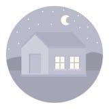απεικόνιση ενός κύκλου των ιδιωτικών κατοικιών τη νύχτα στο υπόβαθρο του δάσους και του φεγγαριού διανυσματική απεικόνιση