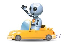 Απεικόνιση ενός μικρού ρομπότ λίγο οδηγώντας αυτοκίνητο ρομπότ διανυσματική απεικόνιση