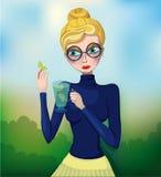 Απεικόνιση ενός ξανθού κοριτσιού διανυσματική απεικόνιση