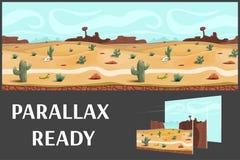Απεικόνιση ενός τοπίου ερήμων, με τα χορτάρια, τα βουνά και τον ουρανό, διανυσματικό ατελείωτο υπόβαθρο με τα χωρισμένα στρώματα διανυσματική απεικόνιση