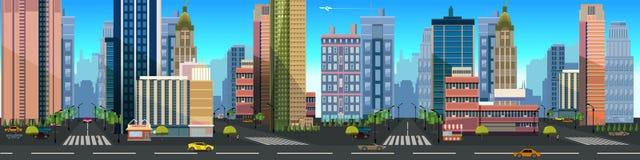 Απεικόνιση ενός τοπίου πόλεων, με τα κτήρια και το δρόμο, του διανυσματικού ατελείωτου υποβάθρου με τα χωρισμένα στρώματα για το  Στοκ Φωτογραφίες