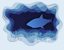 Απεικόνιση ενός τρομερού καρχαρία στο κυνήγι Στοκ Φωτογραφίες