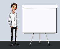 Απεικόνιση ενός υπαλλήλου γραφείων που παρουσιάζει οθόνη ταμπλετών για τις εφαρμογές παρουσίασης Στοκ φωτογραφίες με δικαίωμα ελεύθερης χρήσης