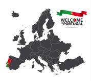 Απεικόνιση ενός χάρτη της Ευρώπης με την κατάσταση της Πορτογαλίας Στοκ Φωτογραφία