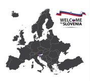 Απεικόνιση ενός χάρτη της Ευρώπης με την κατάσταση της Σλοβενίας Στοκ φωτογραφία με δικαίωμα ελεύθερης χρήσης