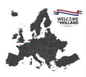 Απεικόνιση ενός χάρτη της Ευρώπης με την κατάσταση των Κάτω Χωρών Στοκ φωτογραφία με δικαίωμα ελεύθερης χρήσης