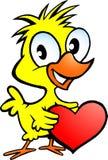 Απεικόνιση ενός χαριτωμένου κοτόπουλου που κρατά μια καρδιά Στοκ Εικόνες