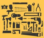 Απεικόνιση επισκευής και κατασκευής με τα εικονίδια εργαλείων εργασίας ελεύθερη απεικόνιση δικαιώματος