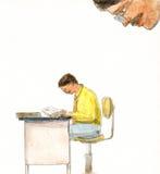 Απεικόνιση - εργαζόμενο άτομο στο γραφείο - έλεγχος Στοκ φωτογραφία με δικαίωμα ελεύθερης χρήσης