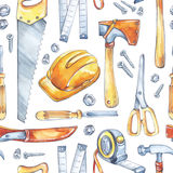 Απεικόνιση εργασίας ατόμων ` s Άνευ ραφής σχέδιο με τα εργαλεία ξυλουργικής Τσεκούρι Watercolor, πριόνι, ρουλέτα, μαχαίρι, σφυρί, Στοκ Εικόνες