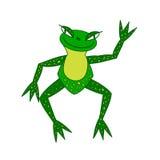 Απεικόνιση, εύθυμος πράσινος βάτραχος με το μεγαλύτερο μάτι Στοκ εικόνα με δικαίωμα ελεύθερης χρήσης