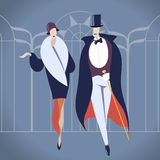 Απεικόνιση ζευγών deco τέχνης ελεύθερη απεικόνιση δικαιώματος