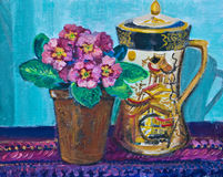 Απεικόνιση, ζωγραφική ενός παλαιού δοχείου καφέ και Primulas Στοκ Εικόνες