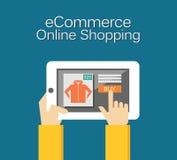 Απεικόνιση ηλεκτρονικού εμπορίου Σε απευθείας σύνδεση απεικόνιση αγορών Επίπεδο σχέδιο Στοκ Φωτογραφίες