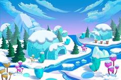 Απεικόνιση: Η των Εσκιμώων πόλη παγοκαλυβών Η γέφυρα, ο ποταμός πάγου, το βουνό πάγου, τα λουλούδια πάγου, τα πράσινα δέντρα πεύκ Στοκ εικόνα με δικαίωμα ελεύθερης χρήσης