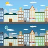 Απεικόνιση θερινής εικονικής παράστασης πόλης Στοκ Εικόνες