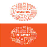 Απεικόνιση ιατρικών, εμβλημάτων φαρμακείων Διανυσματική ταμπλέτα εικονιδίων γραμμών φαρμακείων, κάψες, χάπια, βιταμίνες αντιβιοτι απεικόνιση αποθεμάτων