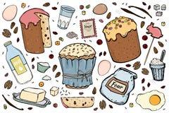 Απεικόνιση κέικ Πάσχας συνταγής διανυσματική απεικόνιση